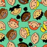 Bezszwowy tło z twarzami dzieci różne narodowości ilustracji