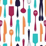 Bezszwowy tło z wzorem sylwetki cutlery Vertical wzór barwiony cutlery Tło z kuchnią ilustracji