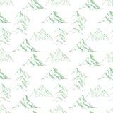 Bezszwowy tło z zielonymi doodle nakreślenia górami Może używać dla tapety, deseniowe pełnie, tkanina, strona internetowa Fotografia Stock