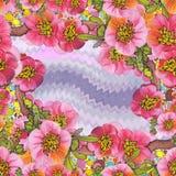 Bezszwowy t?o Gałąź drzewo w kwiacie Wiosny czerwieni kwiaty Rysowa? na tkaninie kwiat fractal ramy ilustracja ilustracji