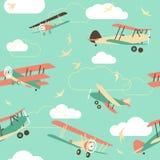 Bezszwowy tło roczników samoloty ilustracja wektor