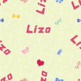 Bezszwowy tło wzoru imienia Liza nowonarodzony Obrazy Stock