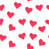 Bezszwowy tło z akwareli czerwieni sercami Obraz Royalty Free