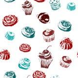 Bezszwowy tło z cukierkami i tortami Zdjęcie Stock