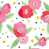 Bezszwowy tło z czerwonymi abstrakcjonistycznymi kwiatami Fotografia Stock