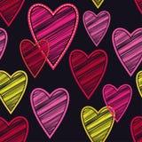 Bezszwowy tło z dekoracyjnymi sercami to walentynki dni kolorowa hafciarska tkanina Skrobaniny tekstura Zdjęcie Royalty Free