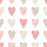 Bezszwowy tło z dekoracyjnymi sercami to walentynki dni kolorowa hafciarska tkanina Skrobaniny tekstura Fotografia Royalty Free
