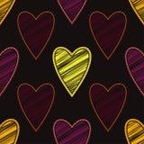 Bezszwowy tło z dekoracyjnymi sercami to walentynki dni kolorowa hafciarska tkanina Skrobaniny tekstura Zdjęcia Royalty Free