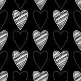 Bezszwowy tło z dekoracyjnymi sercami to walentynki dni kolorowa hafciarska tkanina Skrobaniny tekstura Zdjęcie Stock