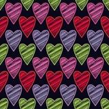 Bezszwowy tło z dekoracyjnymi sercami to walentynki dni kolorowa hafciarska tkanina Skrobaniny tekstura Obraz Royalty Free