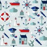 Bezszwowy tło z dennymi ikonami Obraz Royalty Free