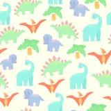 Bezszwowy tło z dinosaurami w kreskówka stylu Obrazy Royalty Free