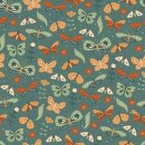 Bezszwowy tło z doodle motylem Obraz Royalty Free