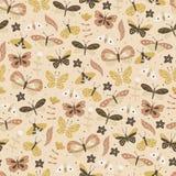 Bezszwowy tło z doodle motylem Zdjęcia Royalty Free