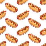 Bezszwowy tło z hot dog Obrazy Royalty Free