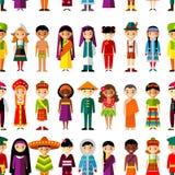 Bezszwowy tło z setem wielokulturowi krajowi dzieci Obrazy Royalty Free