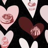Bezszwowy tło z tortami i sercami Zdjęcia Royalty Free