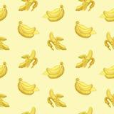 Bezszwowy tapeta wzór z bananami graweruje rysować Owoc Fotografia Stock