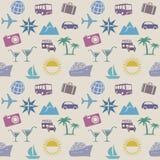 Bezszwowy tapeta wzór z podróży ikonami Obraz Stock
