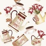 Bezszwowy tapeta wzór z teapots, filiżankami i kwiatami, Zdjęcia Royalty Free