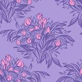 Bezszwowy tapeta wzór z tulipanami w wazie Nakreślenie rysunek o Fotografia Stock