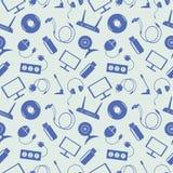 Bezszwowy technologia wektoru wzór, chaotyczny tło z błękitnymi ikonami Zdjęcia Royalty Free