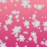 Bezszwowy tekstura płatek śniegu na czerwonym tle ilustracja wektor