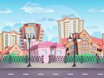 Bezszwowy tekstury lata miasteczko dla gier komputerowych, sieć projekta, etc, Zdjęcia Stock