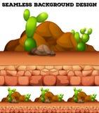 Bezszwowy tło z kaktusem i skałami Zdjęcia Royalty Free