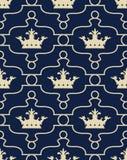 Bezszwowy tło z koronami De Lis i Fleur Obrazy Royalty Free