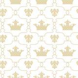 Bezszwowy tło z koronami De Lis i Fleur Zdjęcia Royalty Free