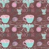 Bezszwowy tło z ranek herbatą Zdjęcia Royalty Free