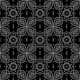 Bezszwowy tradycyjny bandanna wzór czarny i biały ilustracja wektor