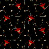Bezszwowy tradycyjny kwiecisty wzór z czarnym tłem ilustracja wektor