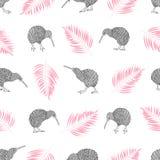 Bezszwowy tropikalny modny wzór z akwarela kiwi ptakami i palma liśćmi Fotografia Royalty Free