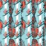 Bezszwowy tropikalny wzór w koralowych palmowych liściach ilustracja wektor