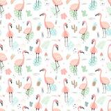 Bezszwowy tropikalny wzór z różowymi flamingami i liśćmi, kaktusy, owoc, kwitnie Wektorowego lata pociągany ręcznie ilustracja a ilustracji