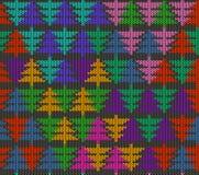 Bezszwowy trykotowy wzór z drzewami Fotografia Royalty Free