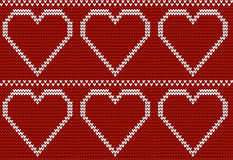 Bezszwowy trykotowy wzór z dużymi sercami Zdjęcie Royalty Free