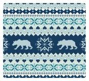 Bezszwowy trykotowy wzór z niedźwiedziami Zdjęcie Royalty Free