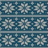 Bezszwowy trykotowy wzór z płatkami śniegu Obraz Royalty Free