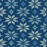 Bezszwowy trykotowy wzór z płatkami śniegu Fotografia Royalty Free