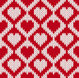 Bezszwowy trykotowy wzór z sercami Obraz Stock
