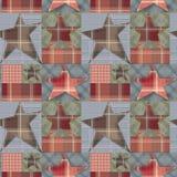 Bezszwowy w kratkę dzieciaka patchworku gwiazd wzoru tło Fotografia Royalty Free