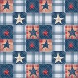 Bezszwowy w kratkę patchwork gwiazd wzór Zdjęcia Stock