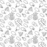 Bezszwowy wakacje ikon wzór z lody, arbuza, ananasa i palmy liśćmi, Wektorowa ręka rysujący czarny kontur royalty ilustracja