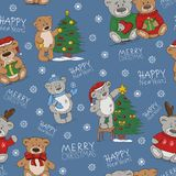 Bezszwowy wakacje wzór z śmiesznymi zabawkarskimi niedźwiedziami royalty ilustracja
