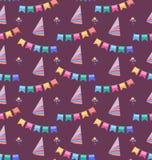 Bezszwowy wakacje wzór z Kolorowymi chorągiewkami i Partyjnymi kapeluszami Obrazy Royalty Free