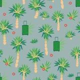 Bezszwowy wakacyjny o temacie wzór z drzewko palmowe kwiatami i walizkami ilustracja wektor
