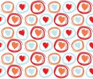 Bezszwowy walentynka dnia tło z okręgami i sercami Kafelkowa wektorowa wakacyjna tekstura Miłość opakunkowego papieru projekt Obrazy Stock
